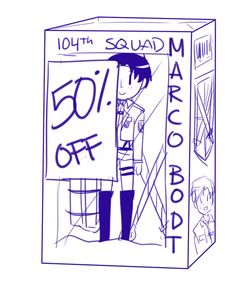 At school were doing observational drawings for our final piece and we have to draw this street (Not the kind you draw as a kid T_T) so I decided to have some fun. I named every shop after an SNK character, and one was 'Marco's polo shirt store'. I went to the bathroom and came back to find someone had drawn a half off poster in the window T_T