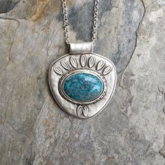 Turquoise Necklace in Sterling Silver. Designer by coldfeetjewelry