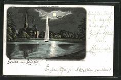 tolle Mondschein-Lithographie Leipzig, Johannapark mit Lutherkirche 1898