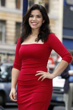 full figure in a classy red dress. go America Ferrera!