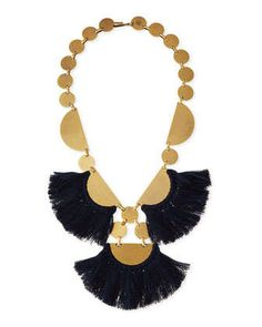 Fringe-Disc+Statement+Necklace,+Blue+by+Tory+Burch+at+Neiman+Marcus.