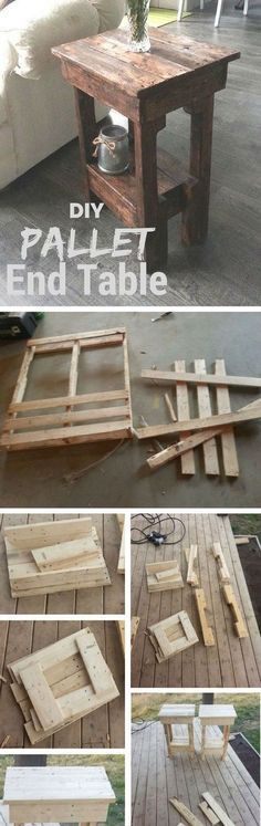 Make this easy DIY end table from pallet wood /istandarddesign/(Diy Furniture Industrial)DIY Pallet Projects {The BEST Reclaimed Wood Upcycle Ideas} Einfache DIY-Endtabelle aus Holz-Versandpaletten-TutorialDIY Pallet end table! This woodworking project is Pallet End Tables, Diy End Tables, Diy Table, Wood Table, Rustic Table, Rustic Farmhouse, Pallet Benches, Outdoor Pallet, Garden Pallet