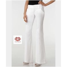 "ALICE+OLIVIA WIDE WAISTBAND PANT. Like new.  These are great white slacks, that are perfect for those days when you want to be casual-chic, but still look polished and well-heeled. Fresh, crisp and high quality, they are not see through. If you need more than a white Jean they are perfect for you. They hug body perfectly due to added spandex. Zip fly with three hook-and-bar closures.Belt loops. Two front slant pockets; back besom pockets. Inseam: 30.5. Waist 14"" (side to side). Fabric blend…"