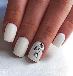 Want some ideas for wedding nail polish designs? This article is a collection of our favorite nail polish designs for your special day. Winter Nail Designs, Nail Polish Designs, Acrylic Nail Designs, Nail Art Designs, Nails Design, Short Square Acrylic Nails, Short Square Nails, Short Nails, Square Nail Designs