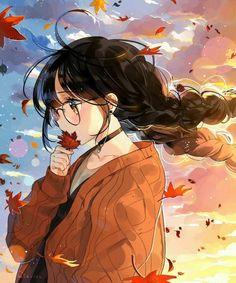 Autum wind...sunset...glasses...brown hair...cute...kawaii