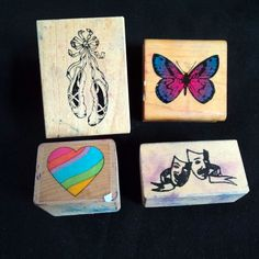 Butterfly Ballet Shoe Rubber Stamp Lot 80s Rainbow Heart Theatre Mask Masquerade #StampinUp #Background