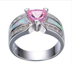 Elegant Pink Crystal Heart Ring for Women with Opal