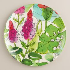 In a tropical palette with a floral motif, our melamine plates are perfect for dining indoors and outdoors. >> #WorldMarket #OutdoorLiving #WorldMarketLove4Outdoors