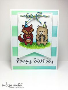Lawn Fawn - Party Animals, Stitched Party Banners _ adorable birthday card by Melissa via Flickr