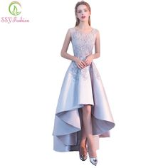ca7cd0ff41 SSYFashion New Banquet Elegant Grey Satin Evening Dress High low Short  Front Long Back Lace Appliques Formal Party Gown Custom
