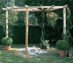 A Radial Pergola is a slightly unusual and interesting structure that fits usefully into the corner of a garden. Rafters radiate over 90 degrees and there's plenty of headroom under the quarter circle and the smooth planed timber makes the structure's appearance very appealing. A superb place to relax during the summer heat. Dimensions: H 249cm, W 275cm, D 275cm.