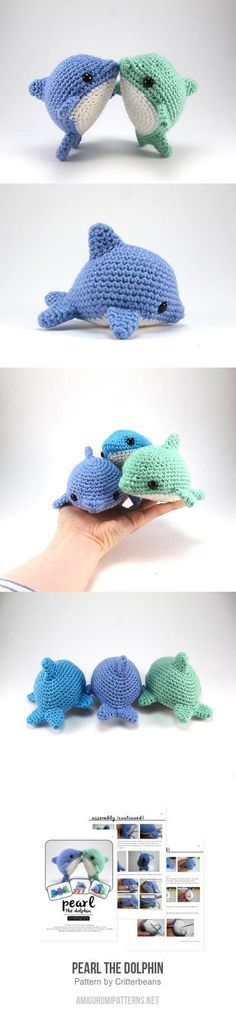 Pearl The Dolphin Amigurumi Pattern ((paid pattern)) Crochet Patterns Amigurumi, Baby Knitting Patterns, Crochet Dolls, Stuffed Toys Patterns, Crochet Projects, Crochet Crafts, Dolphin Craft, Crotchet Animals, Crocs