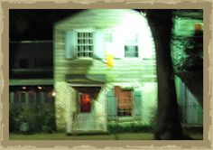 """Apparition on the porch at the """"old herb house""""  I took this picture on the 10:00 pm Savannah ghost tour."""