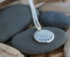 custom one word necklace for you. :: enough, a customizable Soul Mantra necklace Jewelry Box, Jewelery, Jewelry Making, Metal Jewelry, Jewelry Ideas, Quirky Gifts, Cool Gifts, Handmade Jewelry, Unique Jewelry
