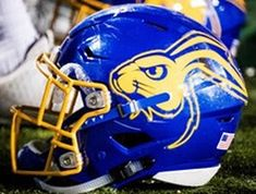 College Football Helmets, South Dakota State, Helmet Logo, Helmet Design, Colleges, Cheerleading, Athletes, All About Time, Nfl
