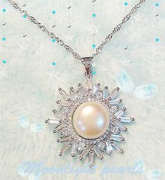 Sterling silver Genuine White  Freshwater Pearl(11mm) Snowflake pendant Necklace | eBay