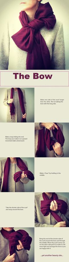 How to make a bow with your scarf!! I cant tell if it looks cute or old lady-ish though...