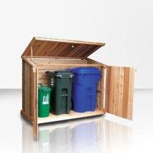 Wooden Garbage Can Storage Bin Discount! Garbage Can Sale. Garbage Can Shed, Garbage Can Storage, Large Storage Bins, Wood Storage Sheds, Bike Storage, Outdoor Storage, Deck Storage, Firewood Storage, Recycling Storage
