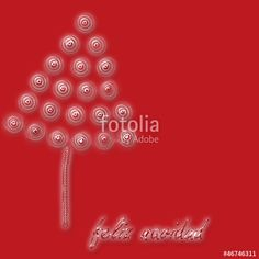 crystal tree on red background