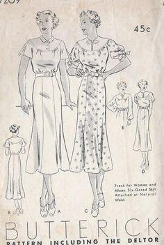Vintage 1930's Misses Dress PatternSix by CottageLaneTreasures