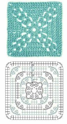 24 modelos e gráficos de quadrados de crochê Crochet Pillow Cases, Crochet Pillow Pattern, Crochet Flower Patterns, Crochet Motif, Crochet Stitches, Free Crochet, Crochet Baby, Crochet Squares Afghan, Granny Square Crochet Pattern