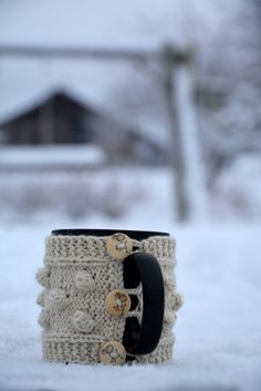 Bobble Mug Cozy / Natural Wool Mug Warmer with by HandiCraftbyJane