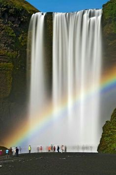 Skógafoss is a waterfall situated on the Skógá River in the south of Iceland at the cliffs of the former coastline.