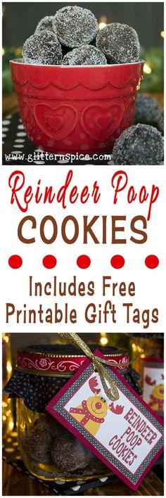 Reindeer Poop Cookies And Free Printable Gift Tags