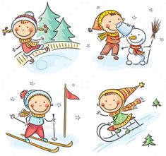 Illustration of Happy kids winter outdoors activities vector art, clipart and stock vectors. Happy Cartoon, Cartoon Kids, Logo Noel, Winter Outdoor Activities, Winter Drawings, Banner Printing, Winter Kids, Book Projects, Stick Figures