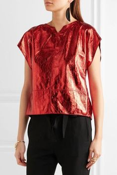 Isabel Marant - Open-back Metallic Leather Top - Red - FR36