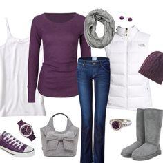 Purple shirt, white tank, gray boots, and puffer jacket.
