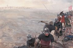 Italian mercenary crossbowmen are forced back by English longbows.
