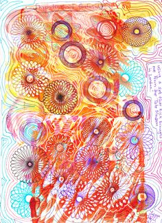 """""""Hypotrochoid Fantasia"""" :Monoprint, spirograph, various pens. My husband got me the cool spirograph kit at the Tate Modern museum in London."""