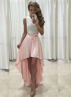 134 USD.High Low Prom Dresses,Lace Top Prom Dresses,Pink Prom Dresses,Women Party Formal Gowns