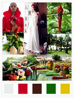 caribbean wedding: location & palm leave with flowers: cherry blossom girl; other images: unknown