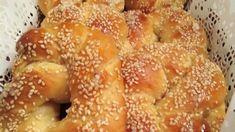 Αφράτα γλυκά κουλούρια με μέλι και σουσάμι-Ιδανικά για παιδιά Bagel, Feta, Recipies, Bread, Snacks, Cookies, Greece, Bakery Business, Recipes