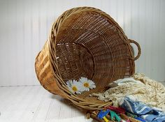 Vintage Large Oval Wicker Laundry Basket  by DivineOrders on Etsy, $33.00