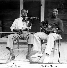 74 years ago today: Henry 'Son' Sims and a young Muddy Waters record for Alan Lomax just outside of Clarksdale, Mississippi.