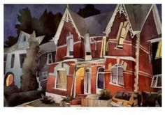 watercolour by Rudolph Stussi, Toronto Houses