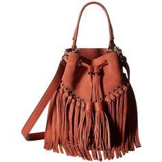 Rebecca Minkoff Rapture Bucket Bag (Brick) Handbags ($171) ❤ liked on Polyvore featuring bags, handbags, shoulder bags, leather handbags, shoulder handbags, leather hand bags, leather purses and red leather shoulder bag