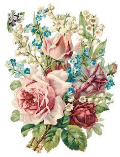vintage flowers Alenquerensis: Awesome Victorian D - vintage Decoupage Vintage, Vintage Paper Dolls, Vintage Diy, Vintage Images, Vintage Blume Tattoo, Vintage Flower Tattoo, Shabby Flowers, Vintage Flowers, Vintage Floral