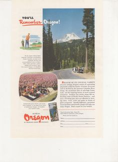 1951 Advertisement Oregon USA OR State 50s America Agent Travel and Tourism Office Wall Art Decor by fromjanet on Etsy https://www.etsy.com/listing/206919280/1951-advertisement-oregon-usa-or-state
