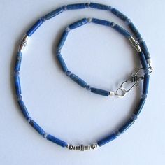 Mens Choker of Lapis Lazuli with Sterling Silver and Sodalite Accents