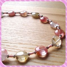 Pink Quartz Bead Necklace Unique Bold Party by sweetpyroangel