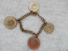 Foreign Coin Charm Bracelet 4 Half Penny Coins Vintage 7 1/2 Inch #Unbranded #CharmBracelet