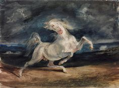 Eugene Delacroix - Horse Frightened by Lightning - 1824 - Eugène Delacroix