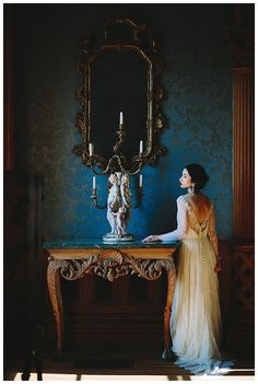 Bridal portrait inspiration at Hay House in Macon, GA. Dress by Leanne Marshall from The Sentimentalist. Image by Michelle Scott Photography.