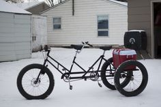 I know most of you have seen a picture of my trike floating around the internet, so today I decided to take a few pictures of it. The frame is a late Fat Bike, Bicicleta Tandem, Velo Cargo, Powered Bicycle, Tandem Bicycle, Bike Storage, Bike Seat, Cycling Bikes, Tricycle