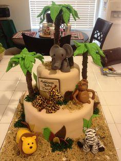 Baby shower cake. Lion . Giraffe . Monkey . Elephant . Baby boy. Animal kingdom. Tier cake . Adorable . Baby shower theme .