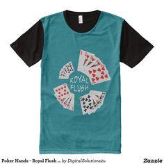 Poker Hands - Royal Flush Dark All-Over Print T-shirt
